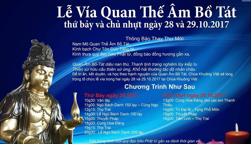 Lễ Vía Quan Thế Âm 28-29.10.2017 tại Chùa Khuông Việt