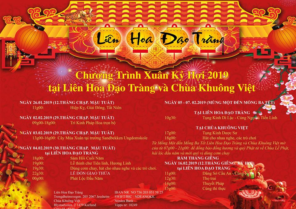 Chương Trình Xuân Kỷ Hợi 2019 tại Liên Hoa Đạo Tràng và Chùa Khuông Việt