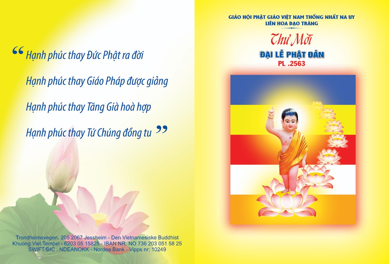 Thư Mời Đại Lễ Phật Đản PL 2563 – 2019