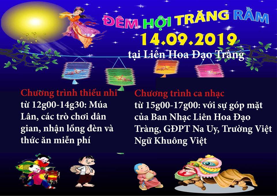 Thông Báo – Đêm Hội Trăng Rằm 14.09.2019