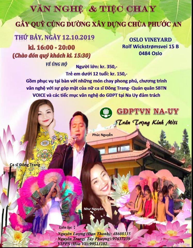 Thông Báo – Đêm Văn Nghệ và Tiệc Chay 12.10.2019