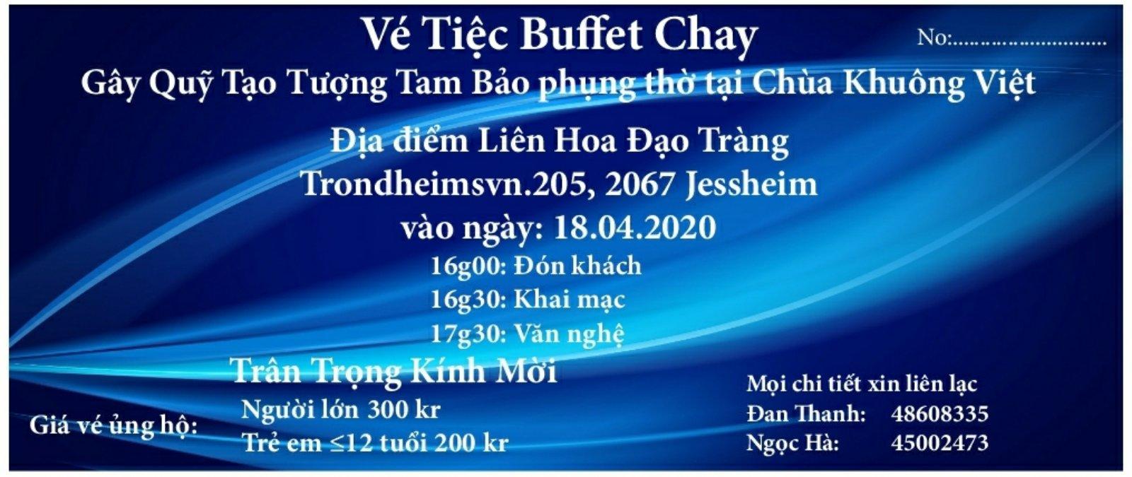 LHĐT – Thông Báo Vé Tiệc Buffet Chay 18.04.2020